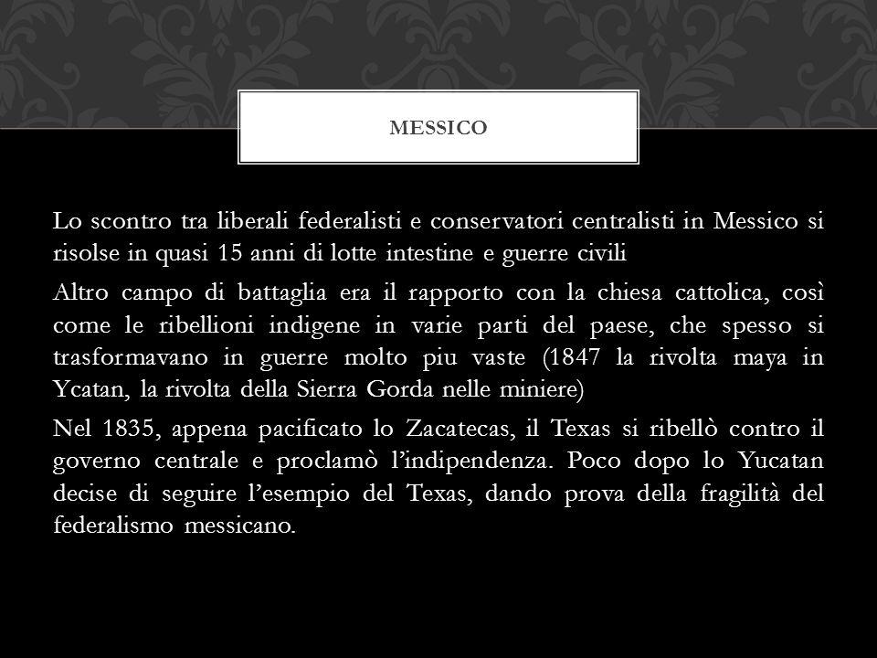 Lo scontro tra liberali federalisti e conservatori centralisti in Messico si risolse in quasi 15 anni di lotte intestine e guerre civili Altro campo d