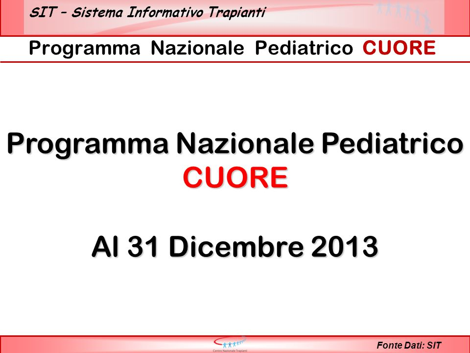 SIT – Sistema Informativo Trapianti Programma Nazionale Pediatrico CUORE Fonte Dati: SIT Programma Nazionale Pediatrico CUORE Al 31 Dicembre 2013