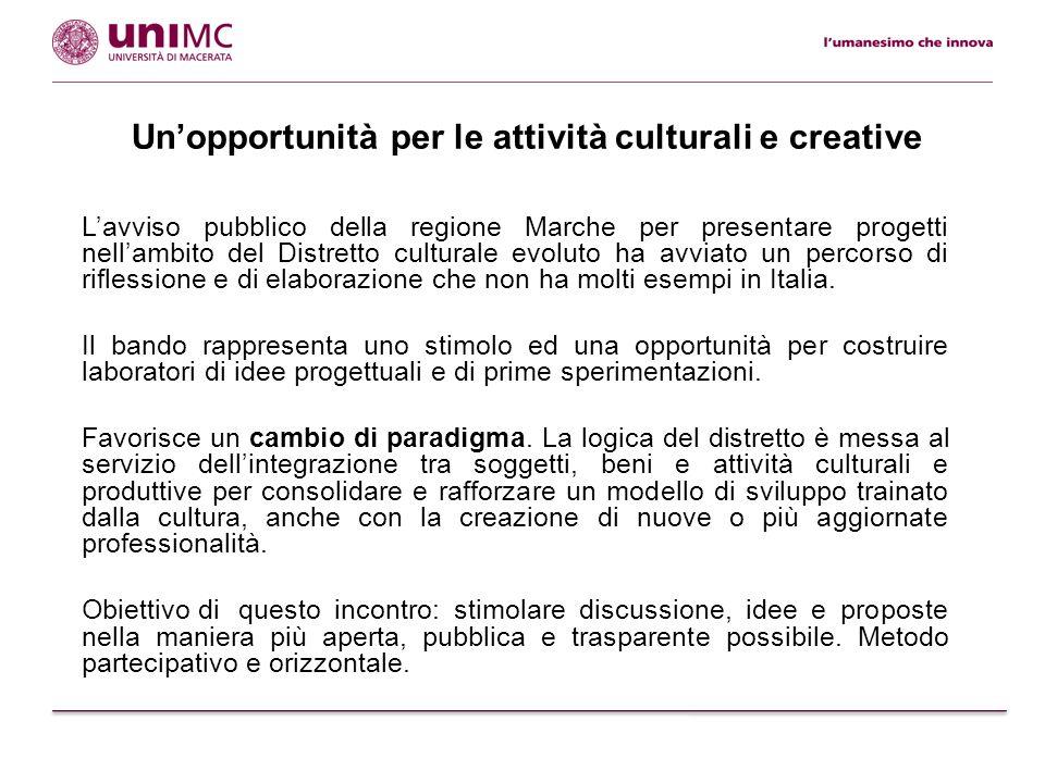Un'opportunità per le attività culturali e creative L'avviso pubblico della regione Marche per presentare progetti nell'ambito del Distretto culturale