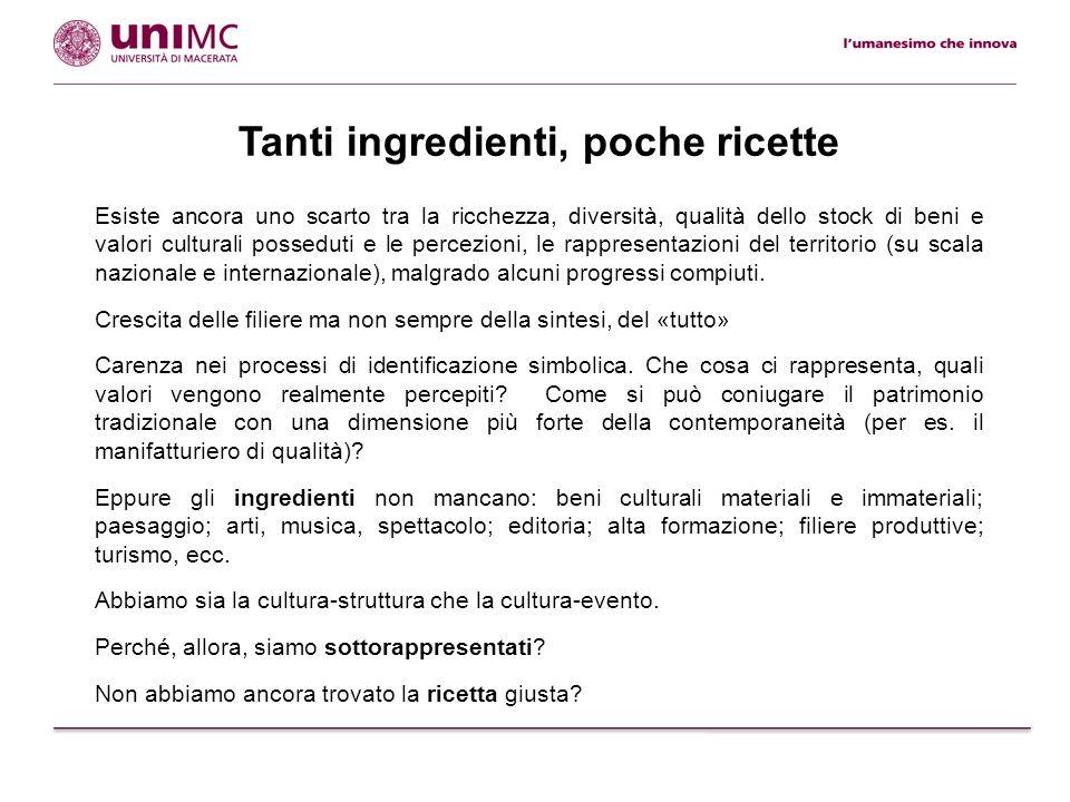 Tanti ingredienti, poche ricette Esiste ancora uno scarto tra la ricchezza, diversità, qualità dello stock di beni e valori culturali posseduti e le p