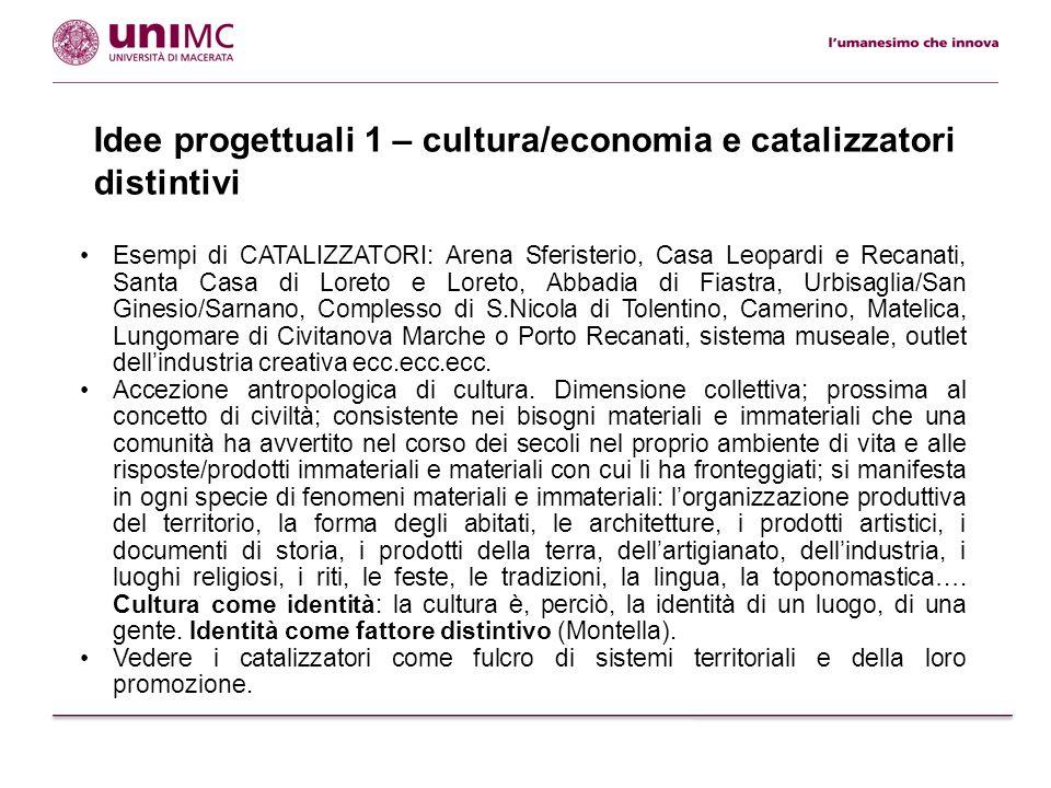 Idee progettuali 1 – cultura/economia e catalizzatori distintivi Esempi di CATALIZZATORI: Arena Sferisterio, Casa Leopardi e Recanati, Santa Casa di L