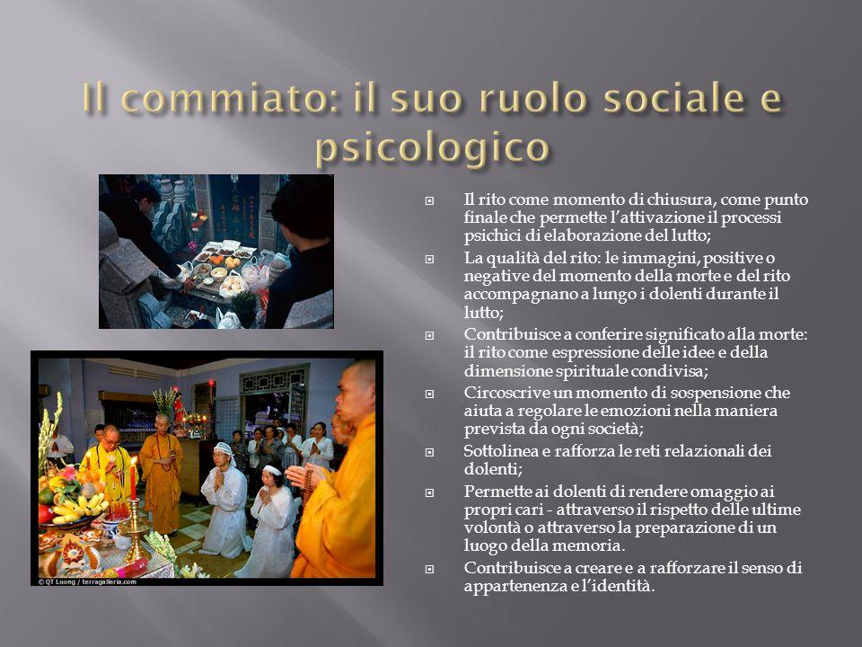  Il rito come momento di chiusura, come punto finale che permette l'attivazione il processi psichici di elaborazione del lutto;  La qualità del rito