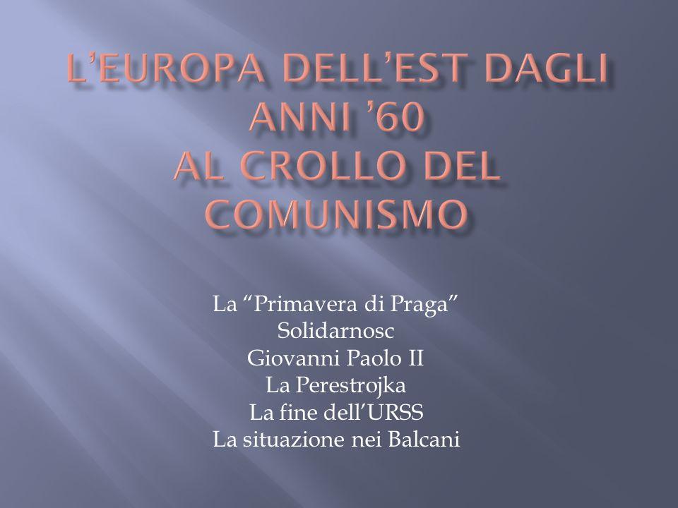 """La """"Primavera di Praga"""" Solidarnosc Giovanni Paolo II La Perestrojka La fine dell'URSS La situazione nei Balcani"""