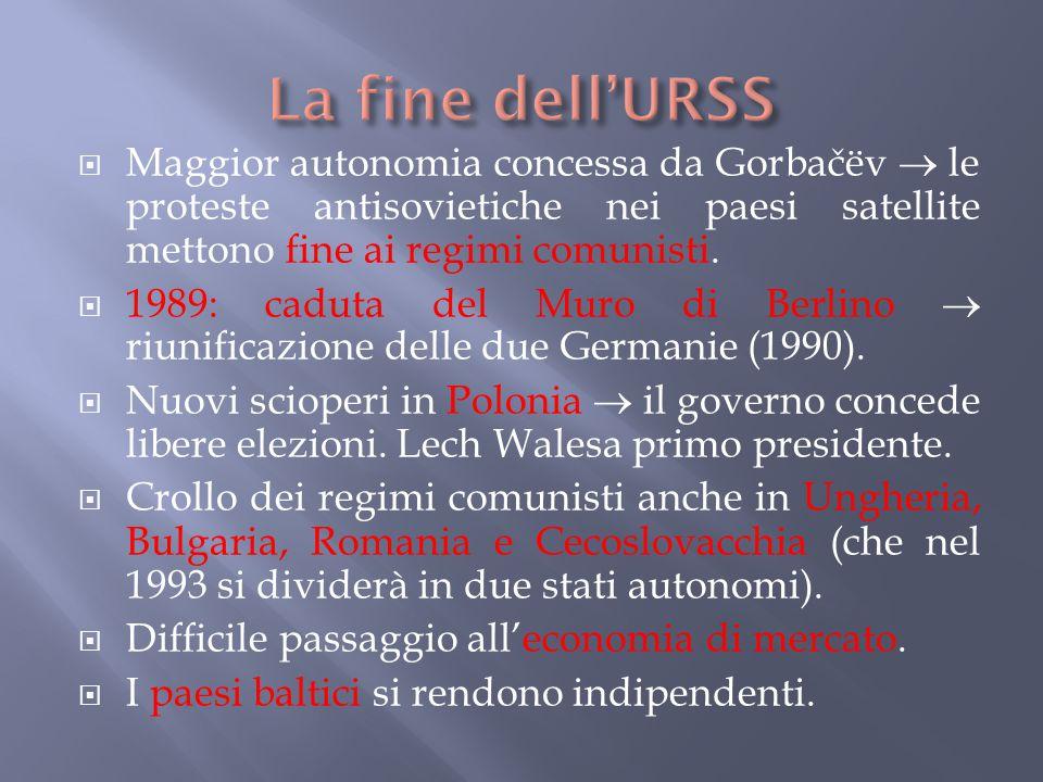  Maggior autonomia concessa da Gorbačëv  le proteste antisovietiche nei paesi satellite mettono fine ai regimi comunisti.  1989: caduta del Muro di