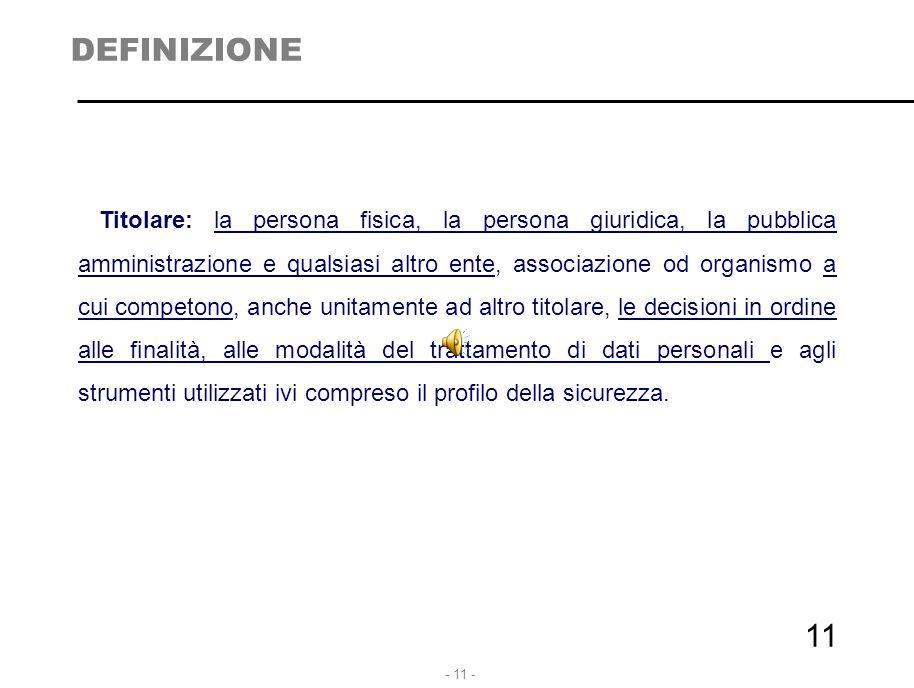 - 11 - 11 DEFINIZIONE Titolare: la persona fisica, la persona giuridica, la pubblica amministrazione e qualsiasi altro ente, associazione od organismo