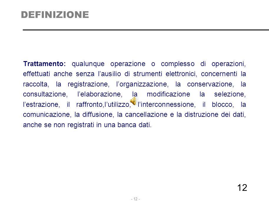 - 12 - 12 DEFINIZIONE Trattamento: qualunque operazione o complesso di operazioni, effettuati anche senza l'ausilio di strumenti elettronici, concerne