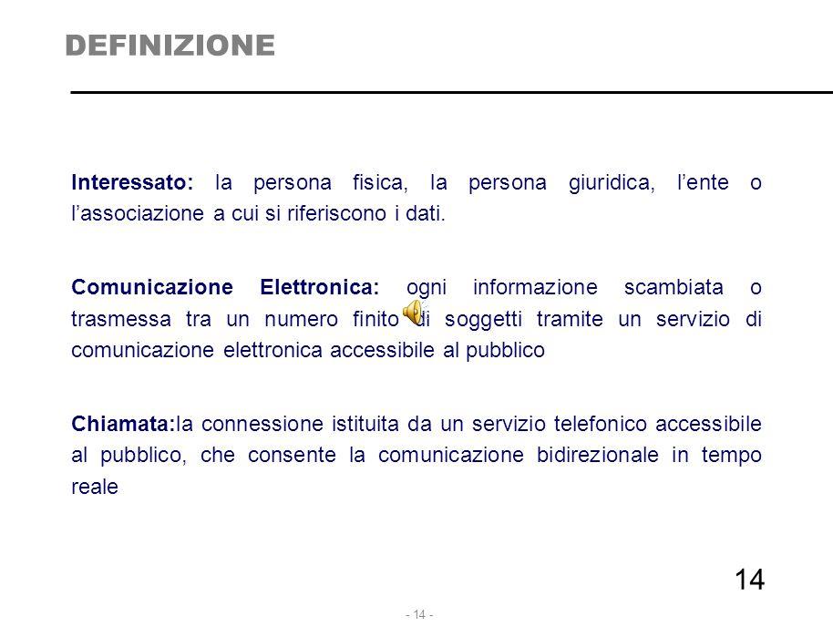 - 14 - DEFINIZIONE Interessato: la persona fisica, la persona giuridica, l'ente o l'associazione a cui si riferiscono i dati. Comunicazione Elettronic