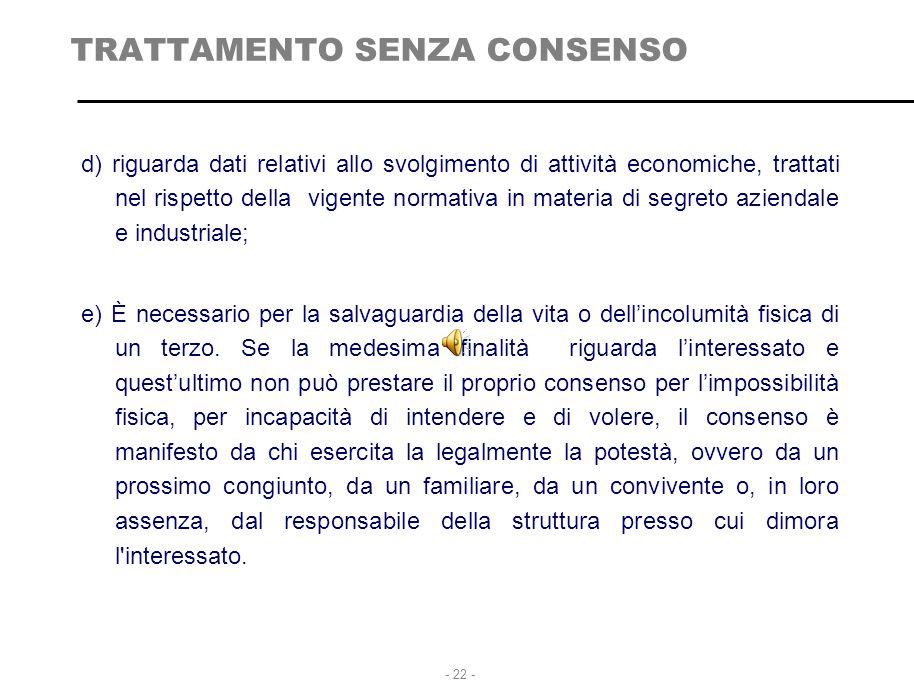 - 22 - TRATTAMENTO SENZA CONSENSO d) riguarda dati relativi allo svolgimento di attività economiche, trattati nel rispetto della vigente normativa in
