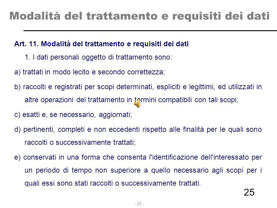 - 25 - Modalità del trattamento e requisiti dei dati Art. 11. Modalità del trattamento e requisiti dei dati 1. I dati personali oggetto di trattamento