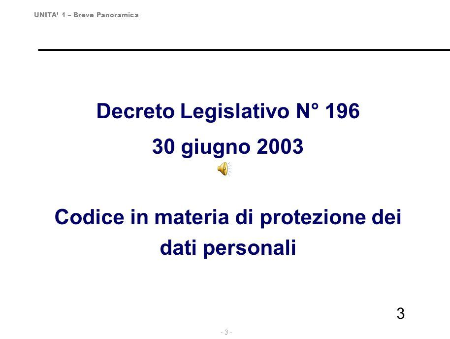 - 4 - 4 PRIVACY Dal 31 Marzo 2006 è obbligatorio, in Italia, il Codice in materia di protezione dei dati personali (Decreto legislativo n.