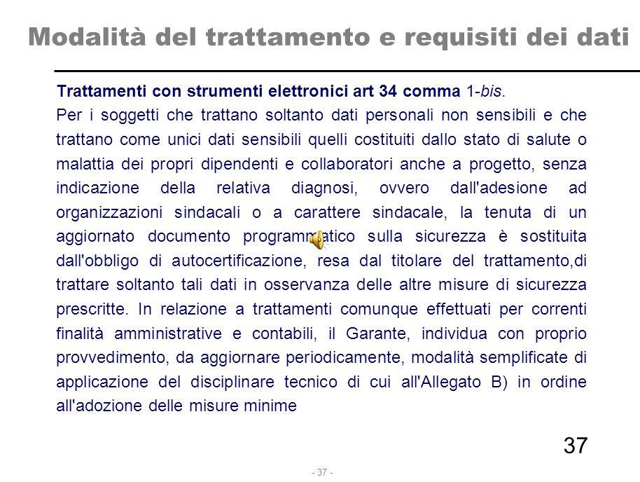- 37 - Modalità del trattamento e requisiti dei dati Trattamenti con strumenti elettronici art 34 comma 1-bis. Per i soggetti che trattano soltanto da