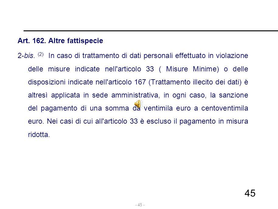 - 45 - Art. 162. Altre fattispecie 2-bis. (2) In caso di trattamento di dati personali effettuato in violazione delle misure indicate nell'articolo 33