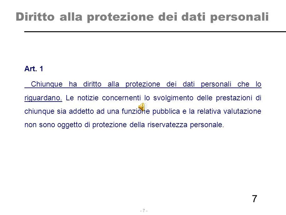- 7 - 7 Diritto alla protezione dei dati personali Art. 1 Chiunque ha diritto alla protezione dei dati personali che lo riguardano. Le notizie concern