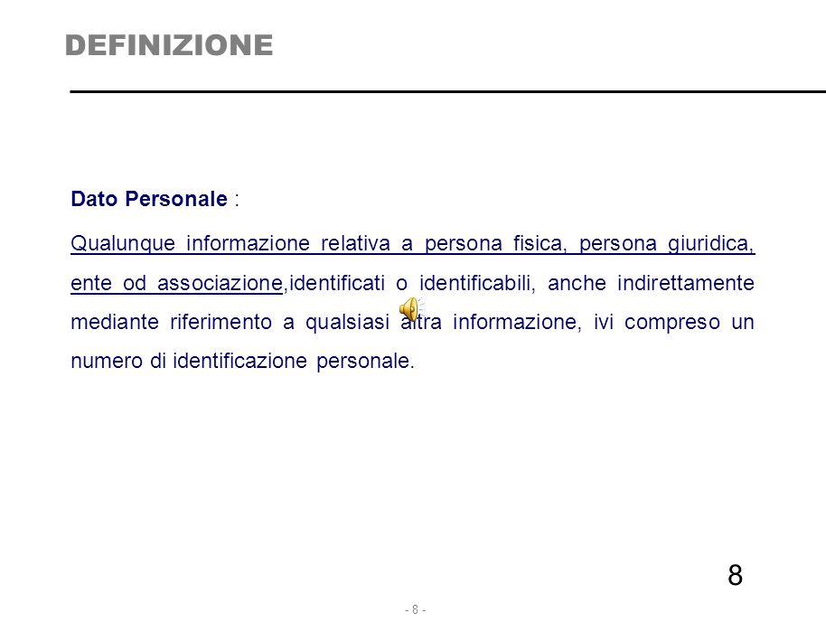 - 8 - 8 DEFINIZIONE Dato Personale : Qualunque informazione relativa a persona fisica, persona giuridica, ente od associazione,identificati o identifi