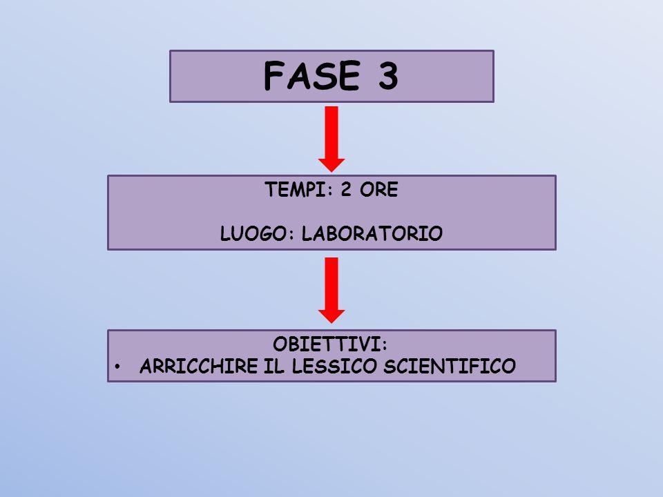 FASE 3 TEMPI: 2 ORE LUOGO: LABORATORIO OBIETTIVI: ARRICCHIRE IL LESSICO SCIENTIFICO