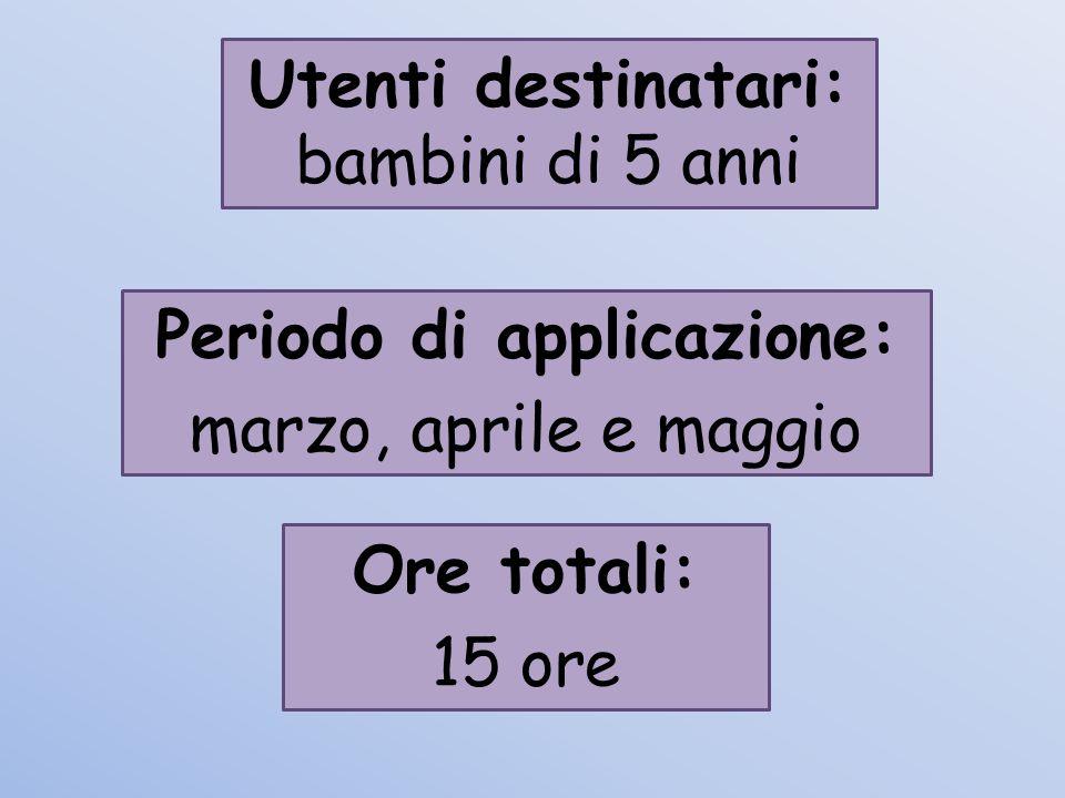 Utenti destinatari: bambini di 5 anni Periodo di applicazione: marzo, aprile e maggio Ore totali: 15 ore