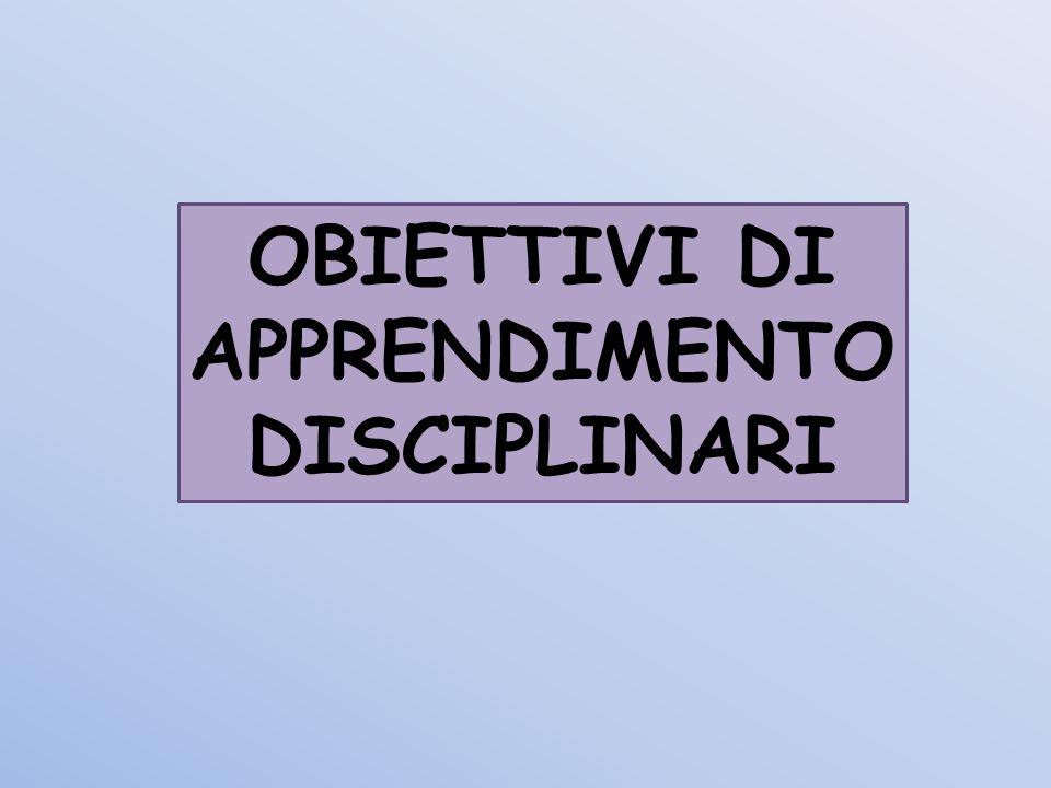 OBIETTIVI DI APPRENDIMENTO DISCIPLINARI