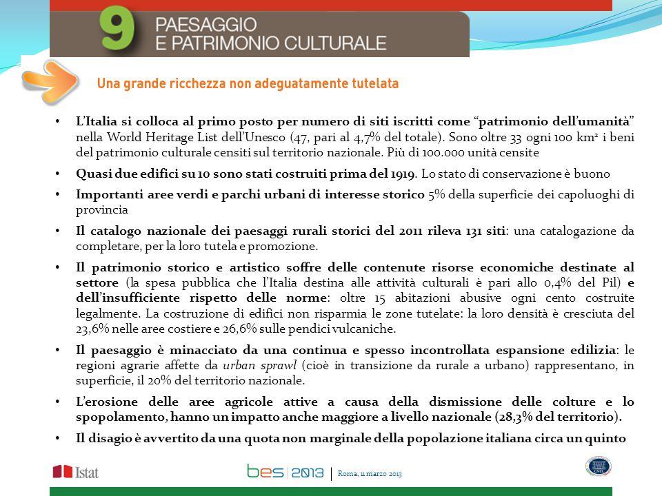 L'Italia si colloca al primo posto per numero di siti iscritti come patrimonio dell'umanità nella World Heritage List dell'Unesco (47, pari al 4,7% del totale).