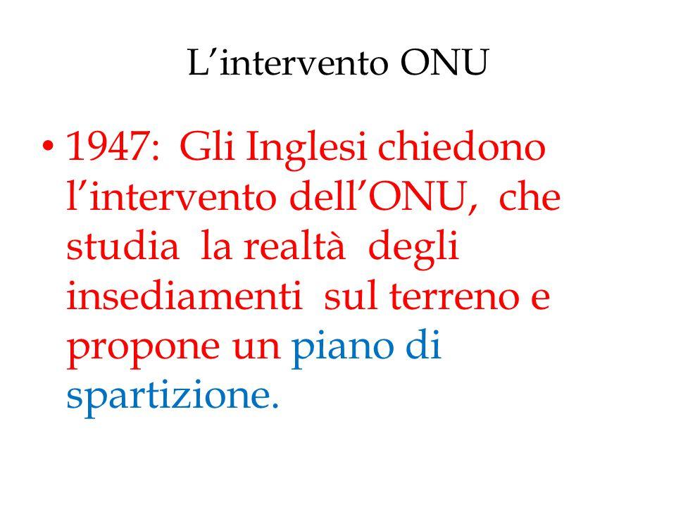 L'intervento ONU 1947: Gli Inglesi chiedono l'intervento dell'ONU, che studia la realtà degli insediamenti sul terreno e propone un piano di spartizio