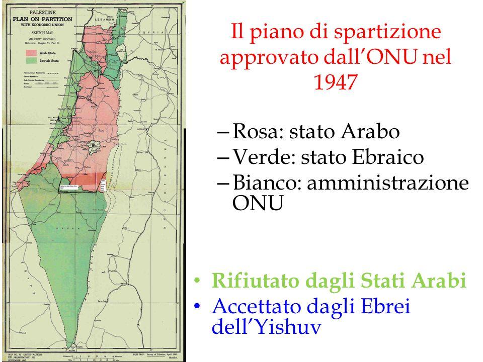 Il piano di spartizione approvato dall'ONU nel 1947 – Rosa: stato Arabo – Verde: stato Ebraico – Bianco: amministrazione ONU Rifiutato dagli Stati Ara