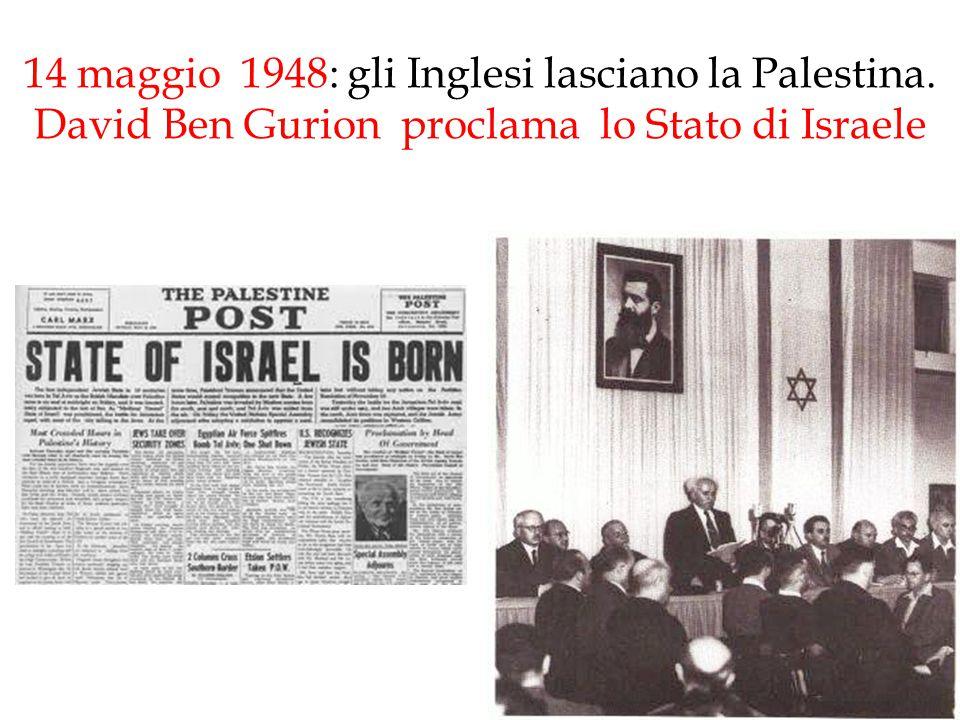 14 maggio 1948: gli Inglesi lasciano la Palestina. David Ben Gurion proclama lo Stato di Israele