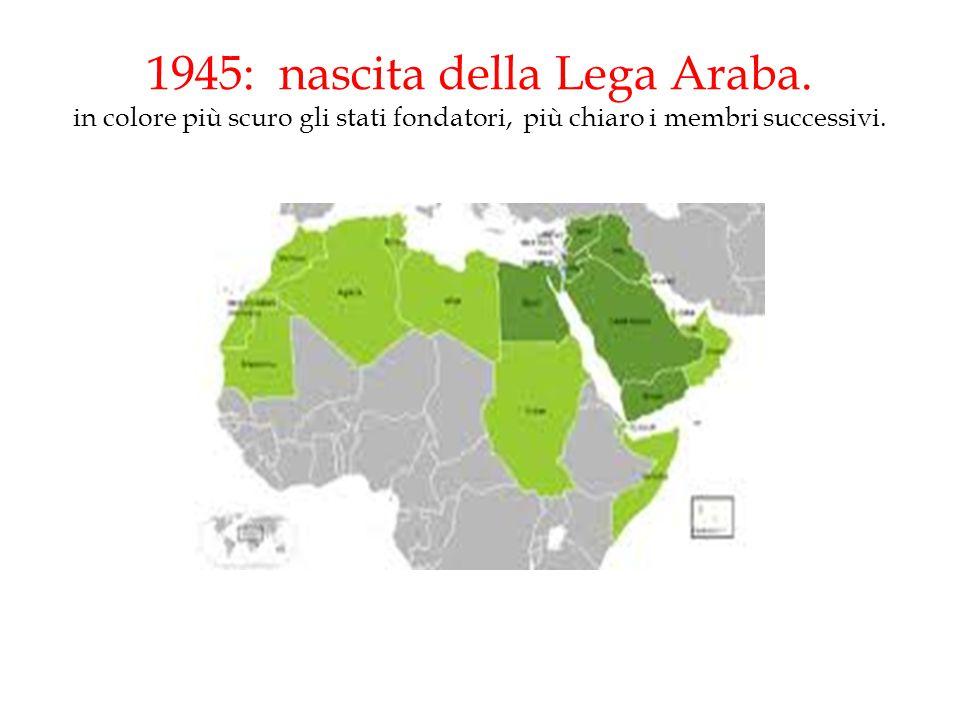 1945: nascita della Lega Araba. in colore più scuro gli stati fondatori, più chiaro i membri successivi.