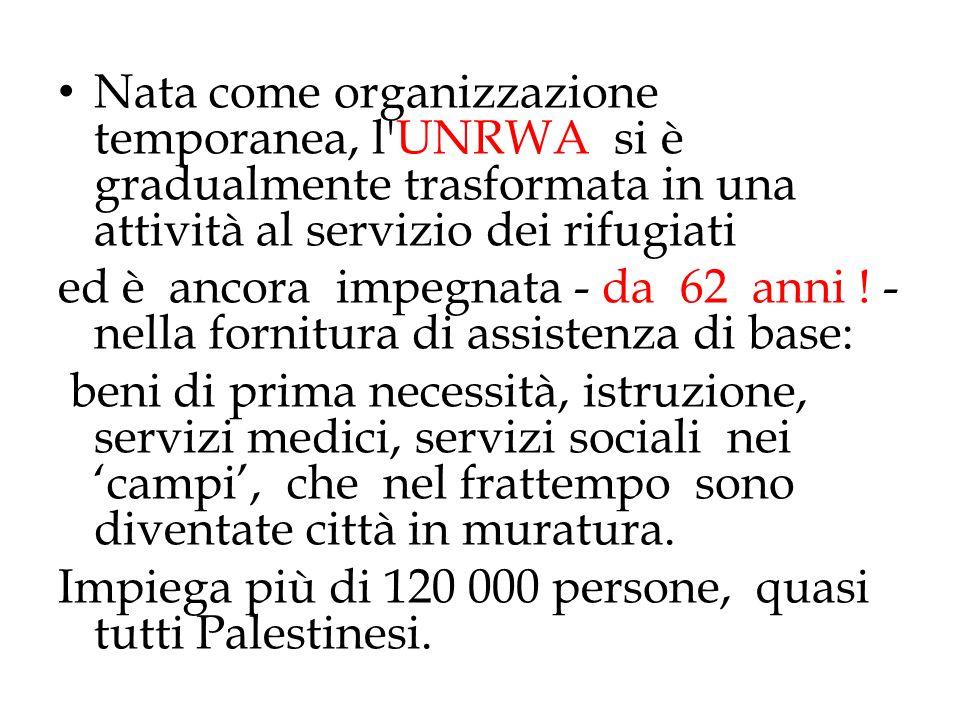 Nata come organizzazione temporanea, l'UNRWA si è gradualmente trasformata in una attività al servizio dei rifugiati ed è ancora impegnata - da 62 ann