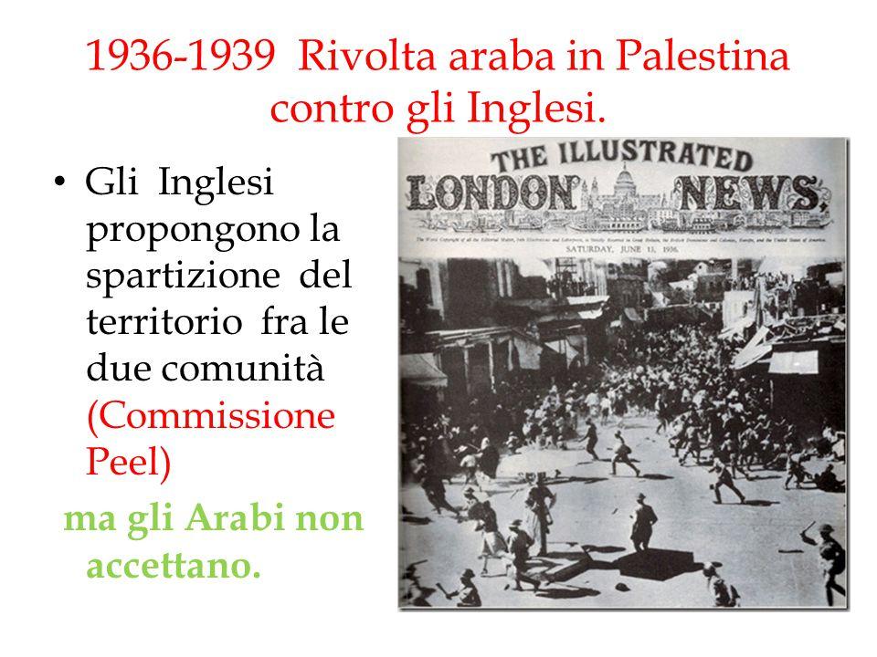 1936-1939 Rivolta araba in Palestina contro gli Inglesi. Gli Inglesi propongono la spartizione del territorio fra le due comunità (Commissione Peel) m