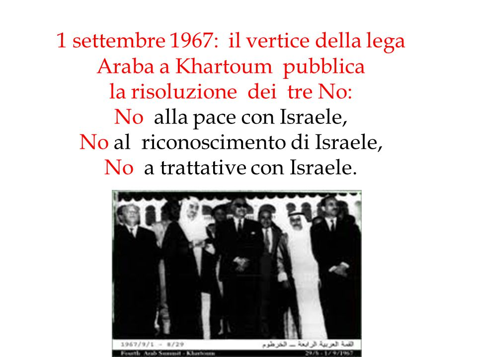 1 settembre 1967: il vertice della lega Araba a Khartoum pubblica la risoluzione dei tre No: No alla pace con Israele, No al riconoscimento di Israele