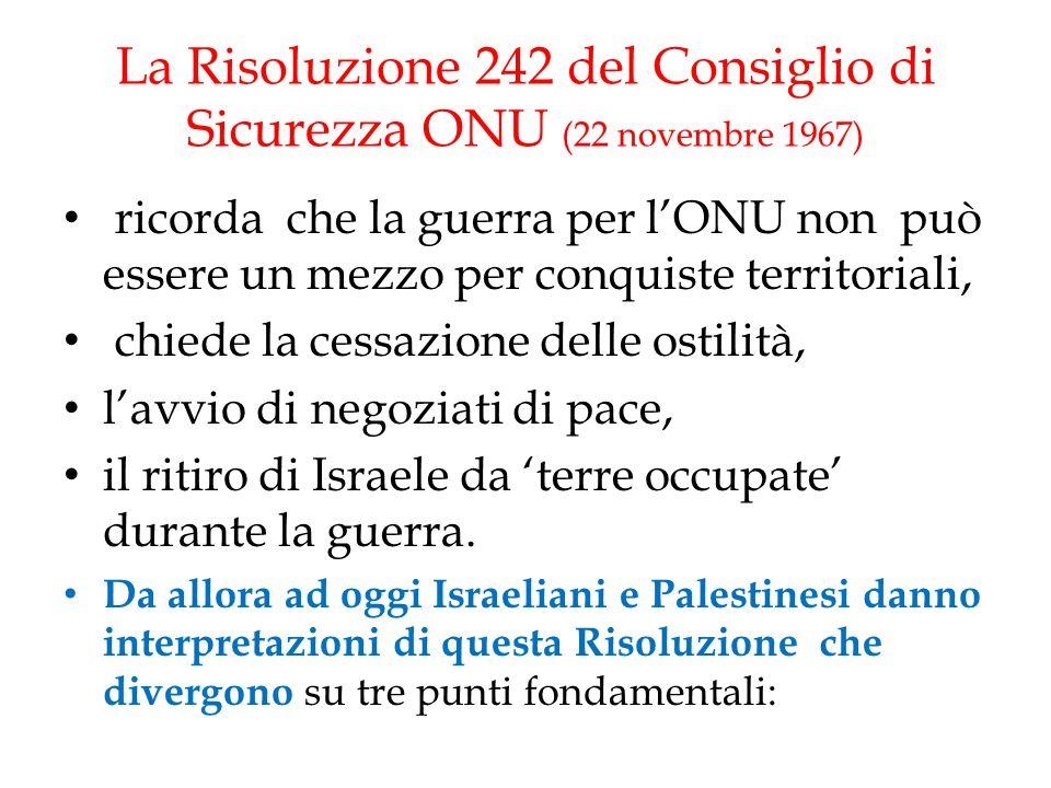 La Risoluzione 242 del Consiglio di Sicurezza ONU (22 novembre 1967) ricorda che la guerra per l'ONU non può essere un mezzo per conquiste territorial