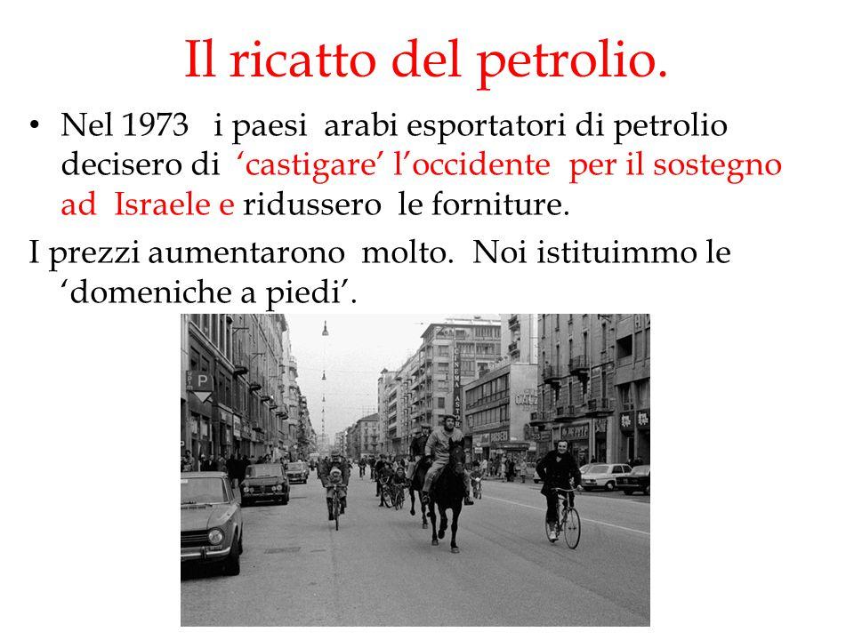 Il ricatto del petrolio. Nel 1973 i paesi arabi esportatori di petrolio decisero di 'castigare' l'occidente per il sostegno ad Israele e ridussero le