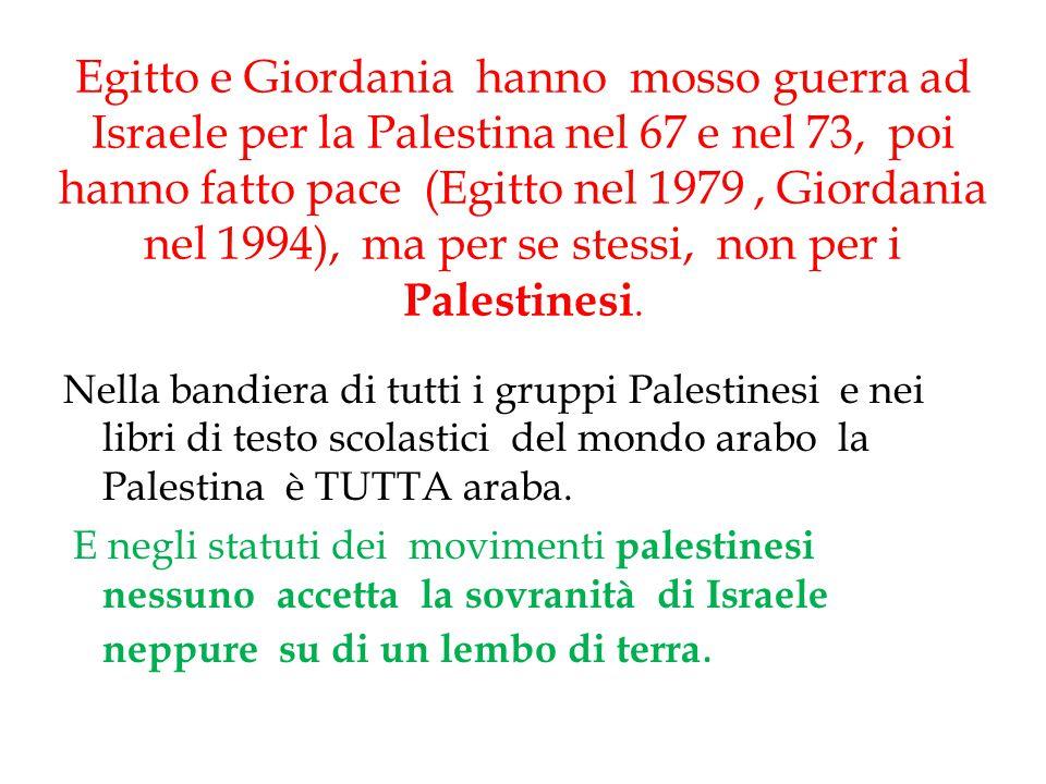 Egitto e Giordania hanno mosso guerra ad Israele per la Palestina nel 67 e nel 73, poi hanno fatto pace (Egitto nel 1979, Giordania nel 1994), ma per
