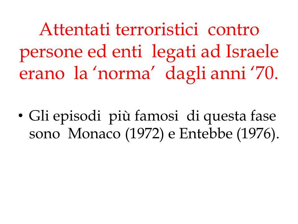 Attentati terroristici contro persone ed enti legati ad Israele erano la 'norma' dagli anni '70. Gli episodi più famosi di questa fase sono Monaco (19