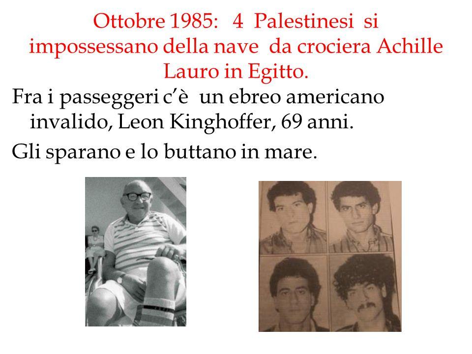 Ottobre 1985: 4 Palestinesi si impossessano della nave da crociera Achille Lauro in Egitto. Fra i passeggeri c'è un ebreo americano invalido, Leon Kin