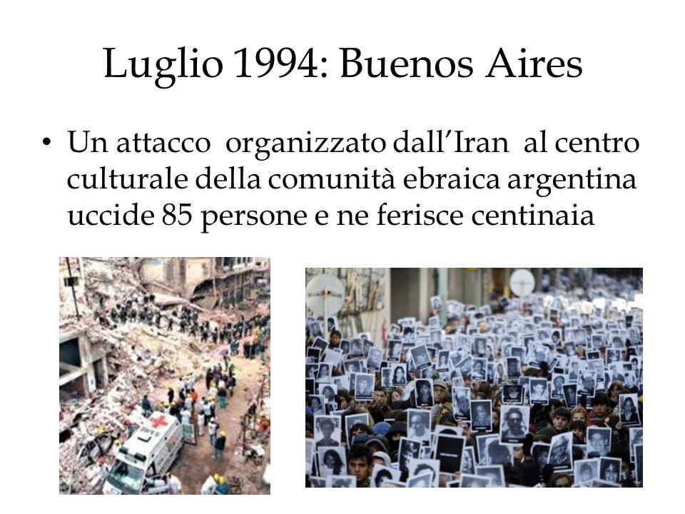 Luglio 1994: Buenos Aires Un attacco organizzato dall'Iran al centro culturale della comunità ebraica argentina uccide 85 persone e ne ferisce centina