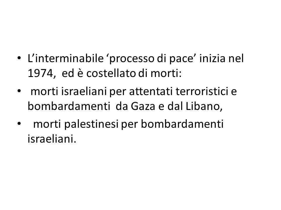 L'interminabile 'processo di pace' inizia nel 1974, ed è costellato di morti: morti israeliani per attentati terroristici e bombardamenti da Gaza e da