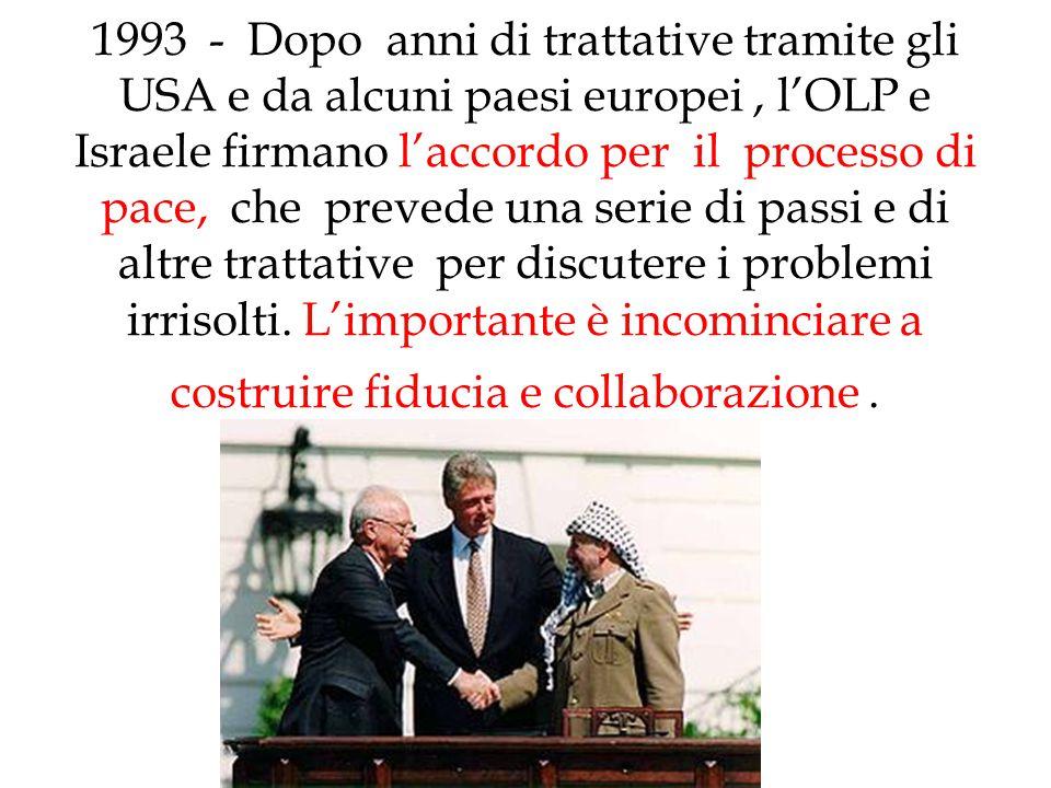 1993 - Dopo anni di trattative tramite gli USA e da alcuni paesi europei, l'OLP e Israele firmano l'accordo per il processo di pace, che prevede una s