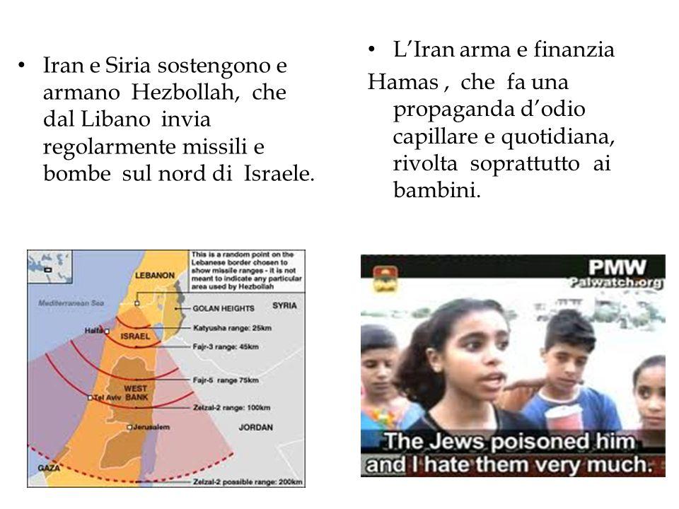 Iran e Siria sostengono e armano Hezbollah, che dal Libano invia regolarmente missili e bombe sul nord di Israele. L'Iran arma e finanzia Hamas, che f
