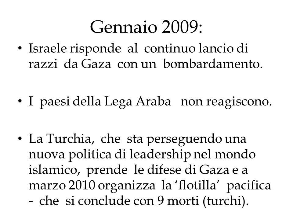 Gennaio 2009: Israele risponde al continuo lancio di razzi da Gaza con un bombardamento. I paesi della Lega Araba non reagiscono. La Turchia, che sta