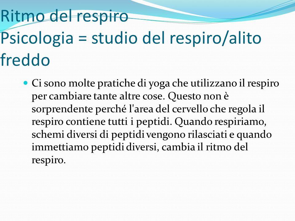 Ritmo del respiro Psicologia = studio del respiro/alito freddo Ci sono molte pratiche di yoga che utilizzano il respiro per cambiare tante altre cose.