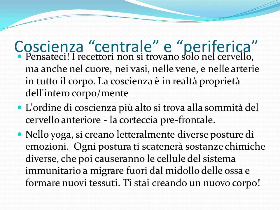 """Coscienza """"centrale"""" e """"periferica"""" Pensateci! I recettori non si trovano solo nel cervello, ma anche nel cuore, nei vasi, nelle vene, e nelle arterie"""