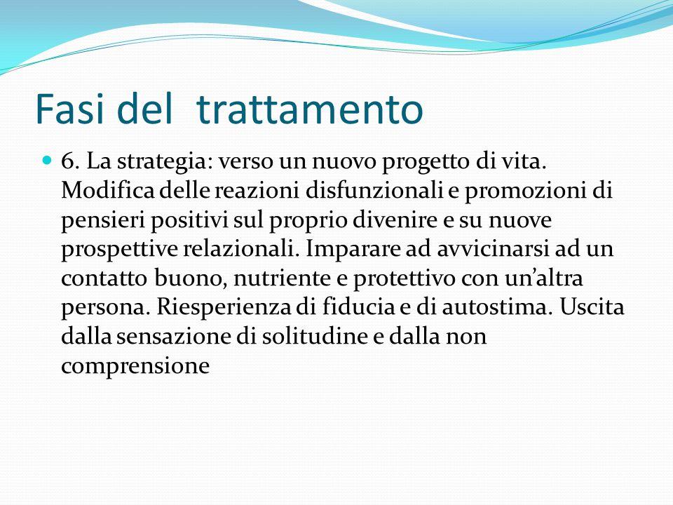 Fasi del trattamento 6. La strategia: verso un nuovo progetto di vita. Modifica delle reazioni disfunzionali e promozioni di pensieri positivi sul pro