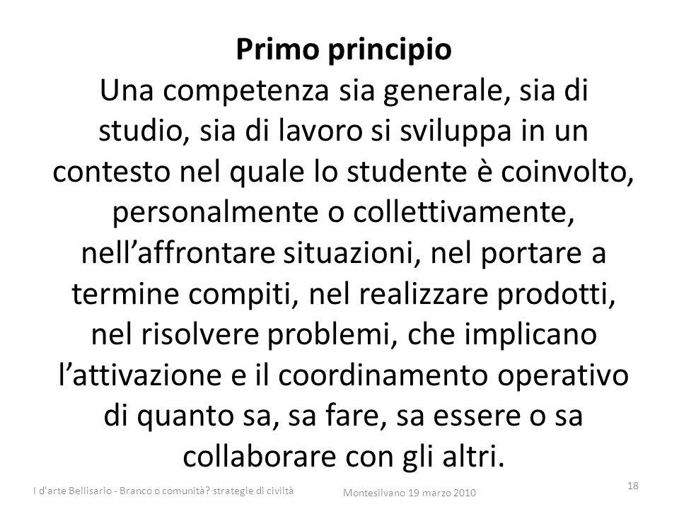 Primo principio Una competenza sia generale, sia di studio, sia di lavoro si sviluppa in un contesto nel quale lo studente è coinvolto, personalmente