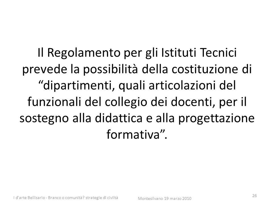 Il Regolamento per gli Istituti Tecnici prevede la possibilità della costituzione di dipartimenti, quali articolazioni del funzionali del collegio dei docenti, per il sostegno alla didattica e alla progettazione formativa .