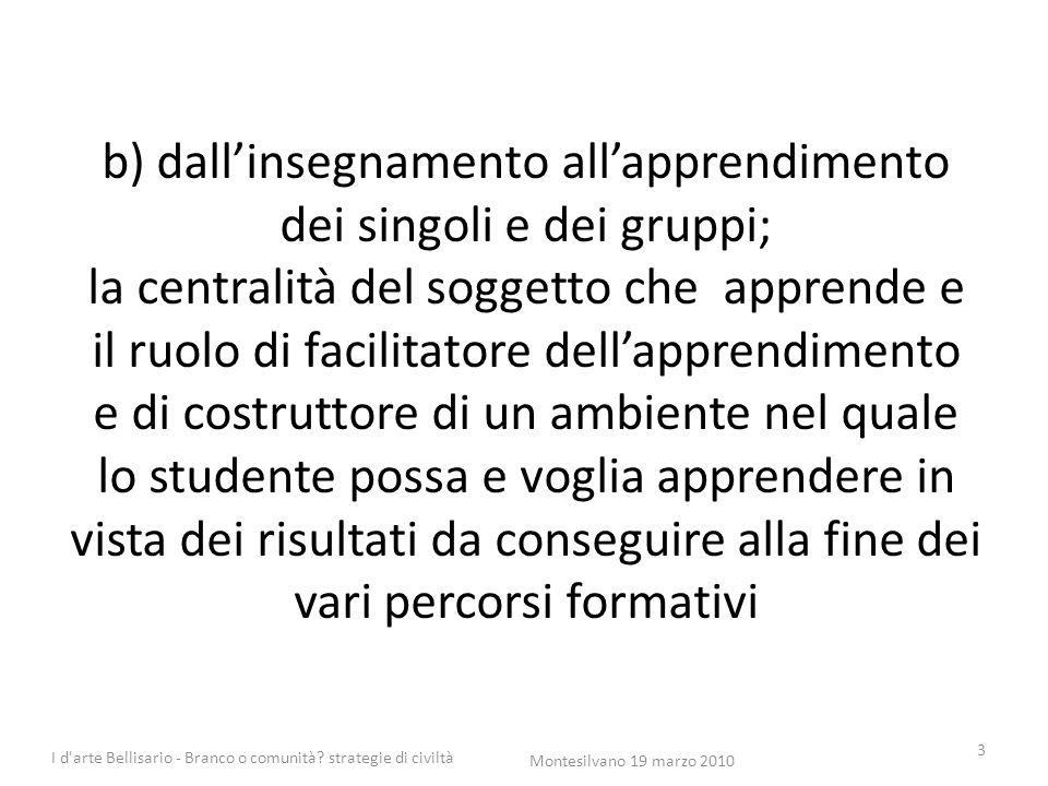 b) dall'insegnamento all'apprendimento dei singoli e dei gruppi; la centralità del soggetto che apprende e il ruolo di facilitatore dell'apprendimento