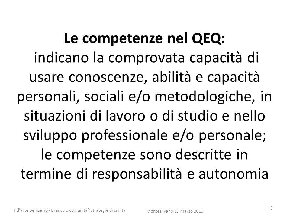 Le competenze nel QEQ: indicano la comprovata capacità di usare conoscenze, abilità e capacità personali, sociali e/o metodologiche, in situazioni di