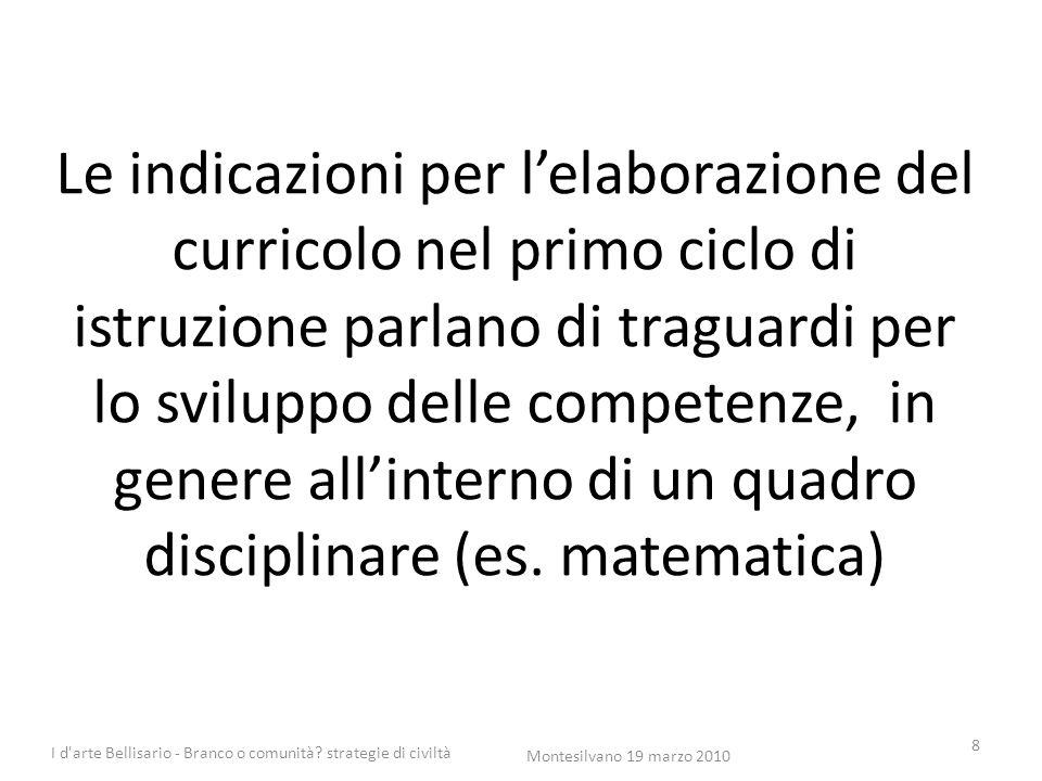 Le indicazioni per l'elaborazione del curricolo nel primo ciclo di istruzione parlano di traguardi per lo sviluppo delle competenze, in genere all'int