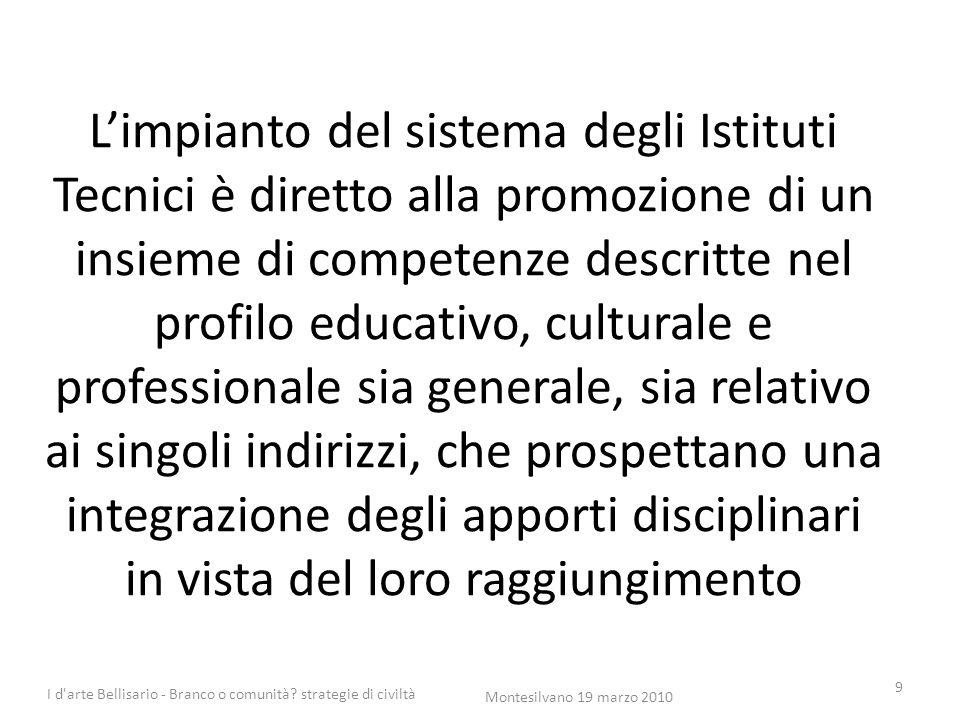 L'impianto del sistema degli Istituti Tecnici è diretto alla promozione di un insieme di competenze descritte nel profilo educativo, culturale e profe