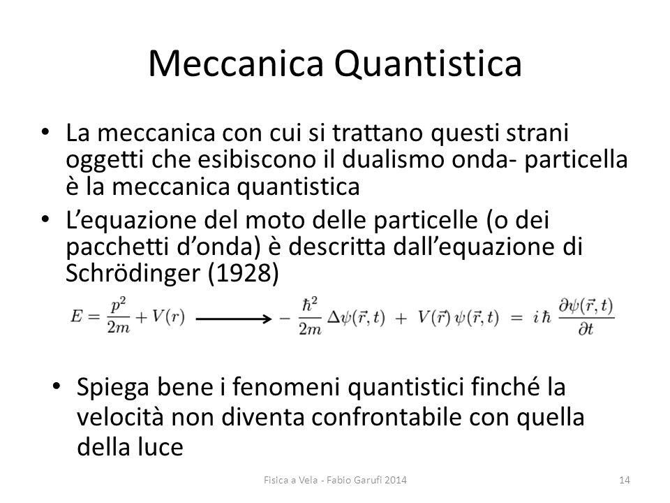 Meccanica Quantistica La meccanica con cui si trattano questi strani oggetti che esibiscono il dualismo onda- particella è la meccanica quantistica L'equazione del moto delle particelle (o dei pacchetti d'onda) è descritta dall'equazione di Schrödinger (1928) Spiega bene i fenomeni quantistici finché la velocità non diventa confrontabile con quella della luce 14Fisica a Vela - Fabio Garufi 2014