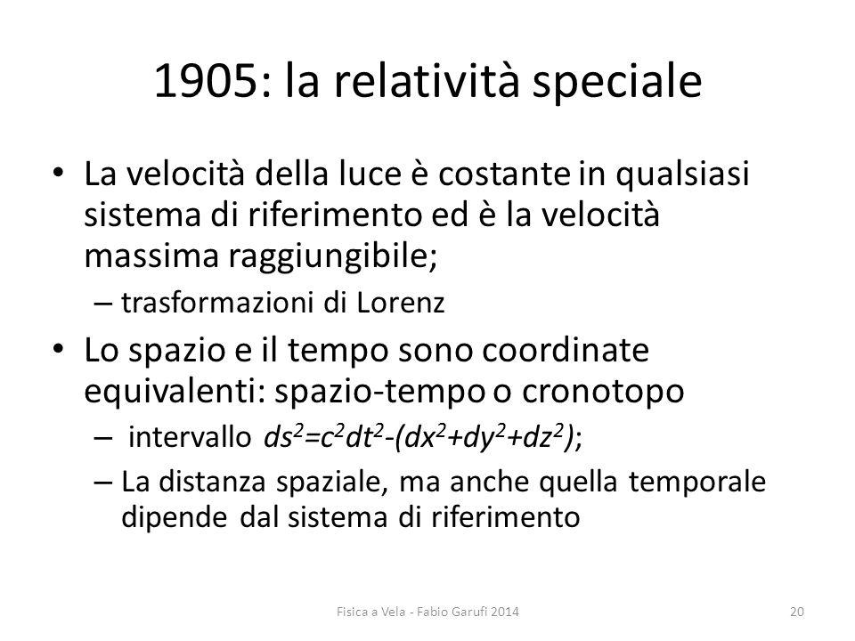 1905: la relatività speciale La velocità della luce è costante in qualsiasi sistema di riferimento ed è la velocità massima raggiungibile; – trasformazioni di Lorenz Lo spazio e il tempo sono coordinate equivalenti: spazio-tempo o cronotopo – intervallo ds 2 =c 2 dt 2 -(dx 2 +dy 2 +dz 2 ); – La distanza spaziale, ma anche quella temporale dipende dal sistema di riferimento 20Fisica a Vela - Fabio Garufi 2014